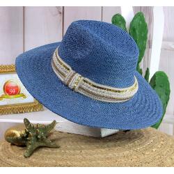 Chapeau de paille et perles bijoux femme HB66 bleu jean Chapeau paille femme été