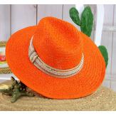 Chapeau de paille et perles bijoux femme HB66 orange Chapeau paille femme été