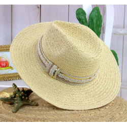 Chapeau de paille et perles bijoux femme HB66 naturel Chapeau paille femme été