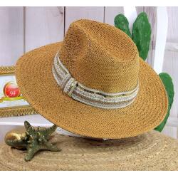 Chapeau de paille et perles bijoux femme HB66 taupe Chapeau paille femme été