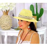 Chapeau de paille et perles bijoux femme HB66 jaune Chapeau paille femme été