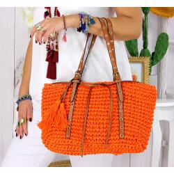 Sac cabas paille pompons fait main été B69 orange Accessoires mode femme