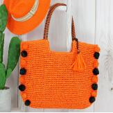 Grand sac cabas paille pompons fait main été B13 orange Accessoires mode femme