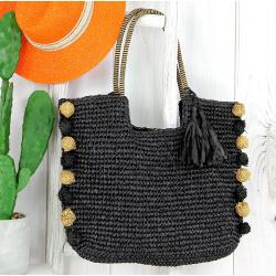 Grand sac cabas paille pompons fait main été B13 noir Accessoires mode femme