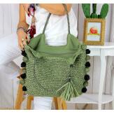 Grand sac cabas paille pompons fait main été B13 kaki Accessoires mode femme