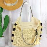 Grand sac cabas paille pompons fait main été B13 naturel Accessoires mode femme