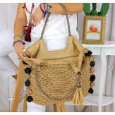 Grand sac cabas paille pompons fait main été B13 taupe Accessoires mode femme