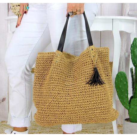 Grand sac cabas paille pompon fait main été B04 taupe Accessoires mode femme