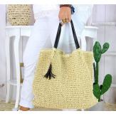 Grand sac cabas paille pompon fait main été B04 naturel Accessoires mode femme