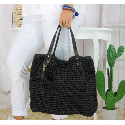 Grand sac cabas paille pompon fait main été B04 noir Accessoires mode femme