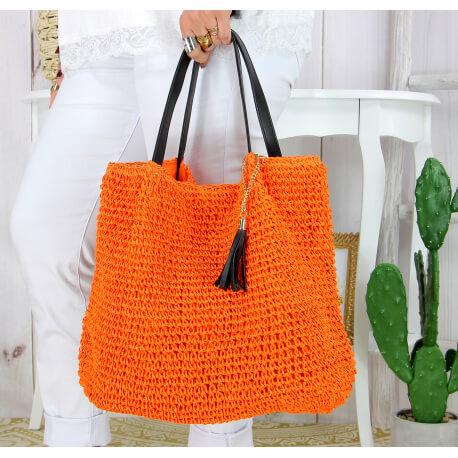 Grand sac cabas paille pompon fait main été B04 orange Accessoires mode femme