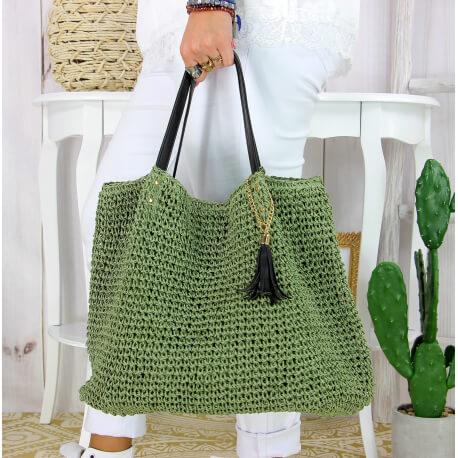 Grand sac cabas paille pompon fait main été B04 kaki Accessoires mode femme
