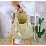 Grand sac cabas paille tressée fait main B27 argent Accessoires mode femme