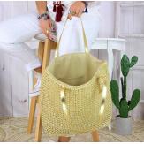 Grand sac cabas paille tressée fait main B27 doré Accessoires mode femme