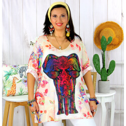 Tunique t-shirt maille imprimé femme grande taille CYBELE 5 Tee shirt tunique femme grande taille