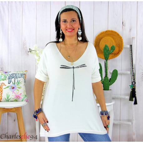 Tunique pull léger femme grande taille KOBA blanc Tunique femme grande taille