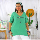 Tunique pull léger femme grande taille KOBA vert Tunique femme grande taille