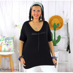 Tunique pull léger femme grande taille KOBA noir Tunique femme grande taille