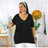 Tunique pull léger femme grande taille KOBA noir Tunique femme grande taille