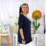 Tunique pull léger femme grande taille KOBA bleu marine Tunique femme grande taille