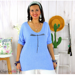 Tunique pull léger femme grande taille KOBA bleu mer Tunique femme grande taille