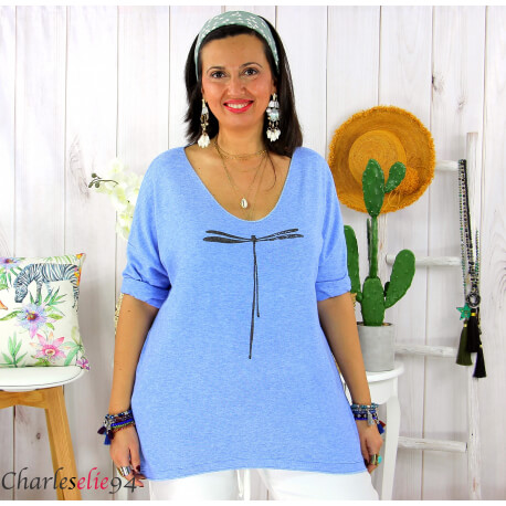 Tunique pull léger femme grande taille KOBA bleu mer Tunique femme grande taille