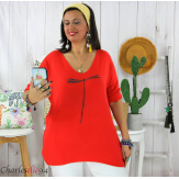 Tunique pull léger femme grande taille KOBA rouge Tunique femme grande taille