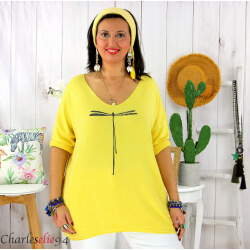 Tunique pull léger femme grande taille KOBA jaune Tunique femme grande taille