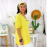 Tunique pull léger femme grande taille KOBA jaune Tunique femme grande taille