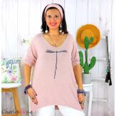 Tunique pull léger femme grande taille KOBA rose Tunique femme grande taille