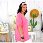 Tunique pull léger femme grande taille KOBA framboise Tunique femme grande taille