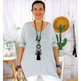 Tunique pull léger femme grande taille LAREDO gris Tunique femme grande taille