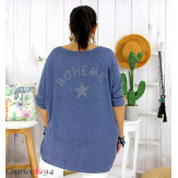 Tunique pull léger femme grande taille LAREDO bleu jean Tunique femme grande taille