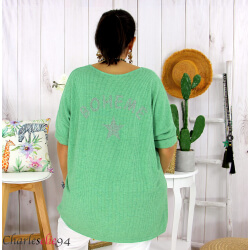 Tunique pull léger femme grande taille LAREDO vert Tunique femme grande taille