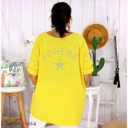 Tunique pull léger femme grande taille LAREDO jaune Tunique femme grande taille