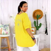 Tunique pull léger femme grande taille LAREDO jaune Tunique femme grande taille