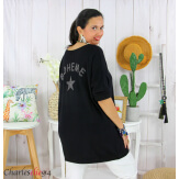 Tunique pull léger femme grande taille LAREDO noir Tunique femme grande taille