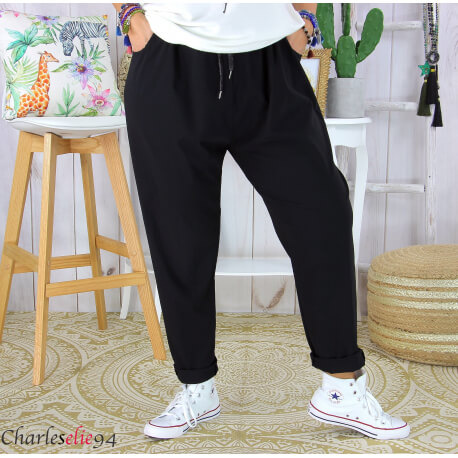 Pantalon été femme grande taille stretch noir PRADO Pantalon femme grande taille