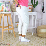 Pantalon été femme grande taille stretch PRADO blanc Pantalon femme grande taille