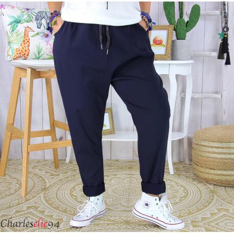 Pantalon été femme grande taille stretch PRADO marine Pantalon femme grande taille