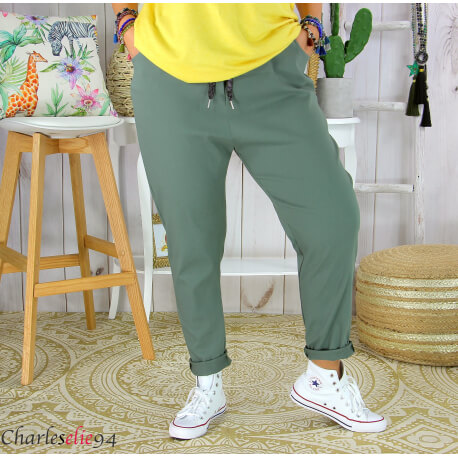 Pantalon été femme grande taille stretch PRADO kaki Pantalon femme grande taille