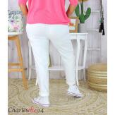 Pantalon été femme grande taille stretch OPUS blanc Pantalon femme grande taille
