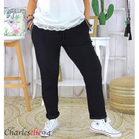 Pantalon été femme grande taille stretch OPUS noir Pantalon femme grande taille