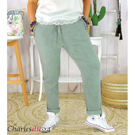 Pantalon été femme grande taille stretch OPUS kaki Pantalon femme grande taille