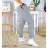 Pantalon été femme grande taille stretch OPUS gris Pantalon femme grande taille