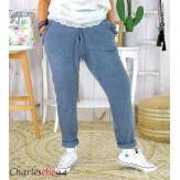 Pantalon été femme grande taille stretch OPUS bleu jean Pantalon femme grande taille