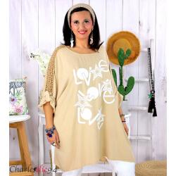 Tunique longue été dentelle bohème grande taille LIVA camel Tunique femme grande taille