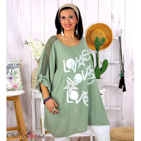 Tunique longue été dentelle bohème grande taille LIVA kaki Tunique femme grande taille