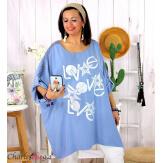 Tunique longue été dentelle bohème grande taille LIVA bleue Tunique femme grande taille