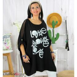 Tunique longue été dentelle bohème grande taille LIVA noire Tunique femme grande taille